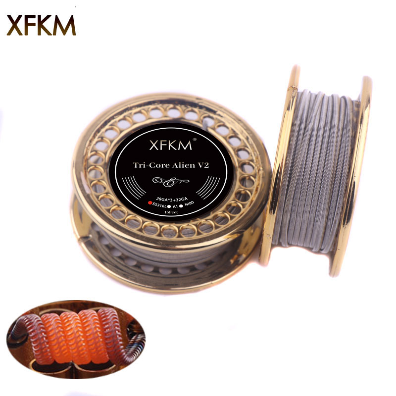 10/15feet XFKM Alien V2 Coil Wire A1 NI80 SS316 Heating Wire High Density RDA RBA RDTA Rebuildable Atomizer Heating DIY Coil цены