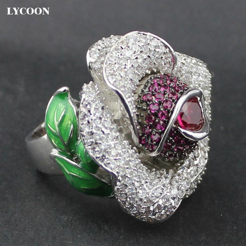 LYCOON 2017 newest Luxury red Zircon Ring For Women Engagement female big rose flower ring Cubic Zirconia CZ stone Wedding Rings