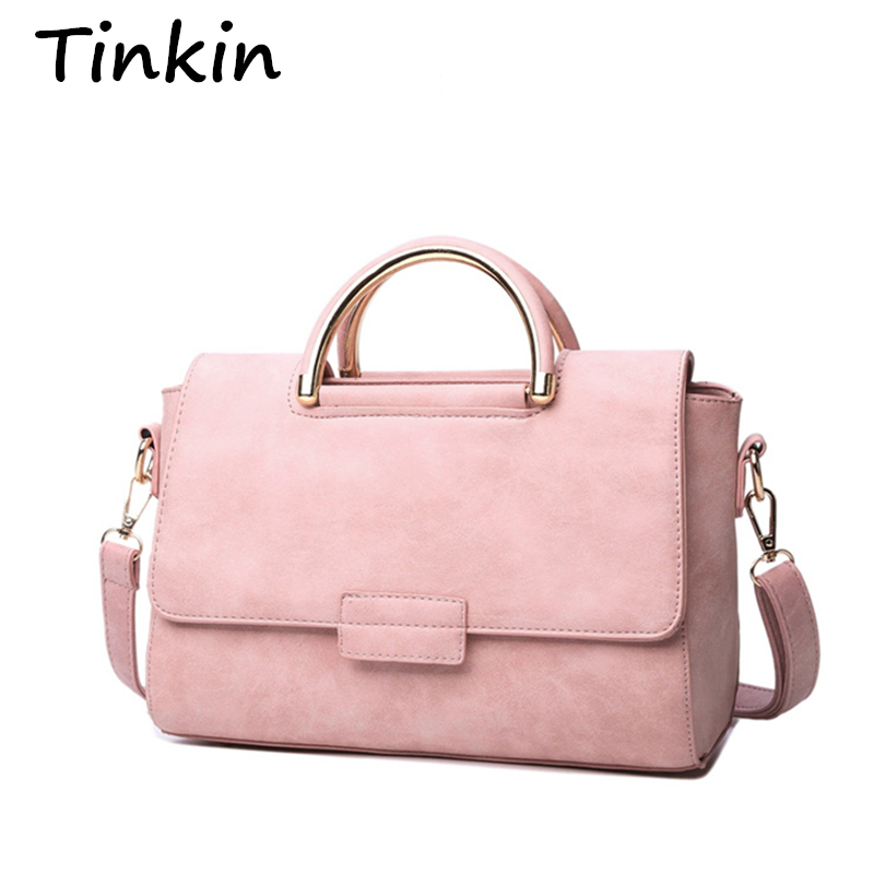 Tinkin New Arrive Women All-match Bag Fashion Nubuck Handbag High Quality Medium Shoulder Bag Frosting Women Messenger Bag