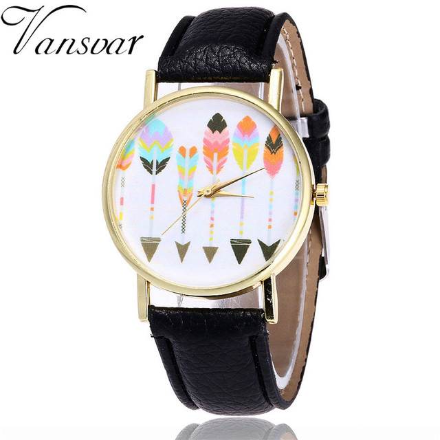 Vansvar Women Watches Feather Printed Quartz Watch Fashion PU Leather Strap Anal