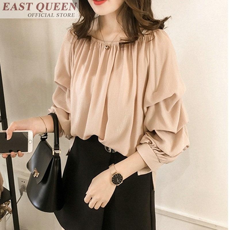 Chiffon blouse shirts for women lantern three quarter sleeve o-neck shirt tops elegant loose casual ladies blouses DD865 L