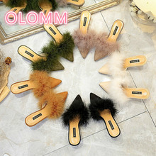 Summer new European and American fashion womens slippers pointy slender heels fur