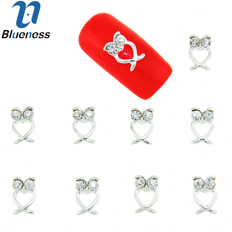 10 Pcs/Lot 3D Hollw Owl Design Nail Tools Silver Alloy Crystal Rhinestones Nail Art Decoration Fashion DIY Accessories TN1687 1000pcs lot ab color marquise nail art rhinestones women decoration diy nail jewelry accessories 3d nail art supply tools wy505