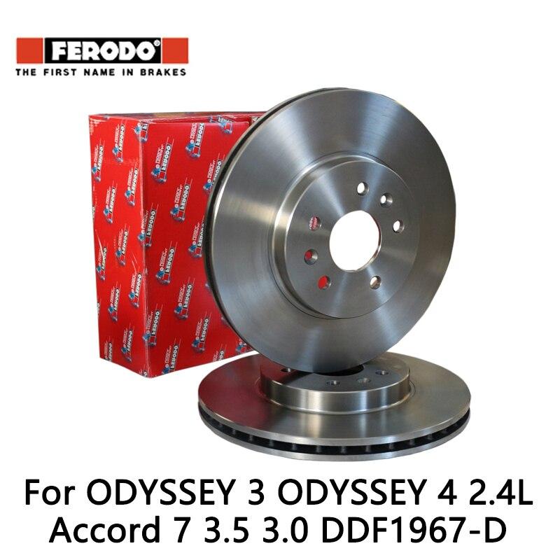 2pcs/lot Ferodo Car Front Brake Disc For ODYSSEY 3 ODYSSEY 4 2.4L Accord 7 3.5 3.0 DDF1967-D колодки ferodo 2 4