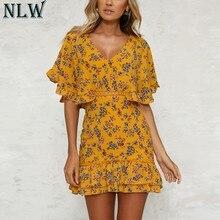 e9e97501e1d NLW robe en mousseline imprimé jaune à volants manches papillon robe d été  col en V Crochet femmes robe d été Vintage fille Mini.