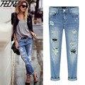 Nova primavera Mulheres Jeans Rasgado Buracos Moda Famale Comprimento Total Reta Meados Cintura Denim Lavado Calças de Algodão Calças