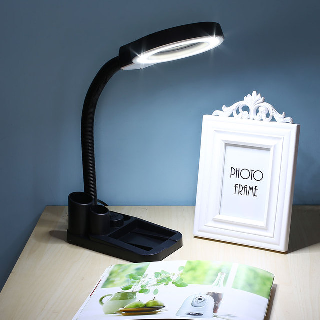 Table Lamp Bright 40LED Light ON/OF Switch With Magnifier Magnifying Pen Holder Lamp