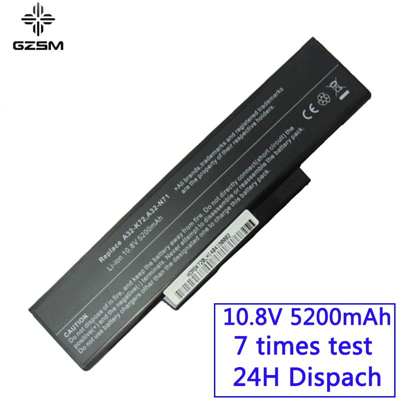 GZSM Laptop Battery K72 For Asus A32-K72 A32-N71 K72DR K72D K72F K72JR K73 Battery For Laptop K73SV K73S K73E N73SV X77V Battery