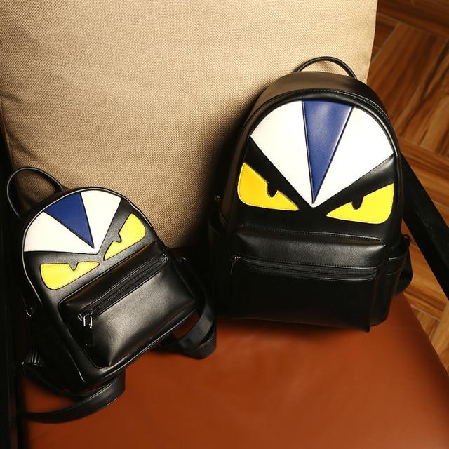 9dbf8bacf233 High Quality PU leather Women Backpack Monster Backpacks ladies shoulder bag  family backpack for children mochila