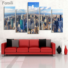 New York City Canvas Paintings 5 Piece Art Picture Modular Painting ModernPictures on Wall For Kitchen Living Room