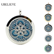 Fashion Stainless Steel Essential Oil Locket Jewelry 30MM Round Hollow Fragrant Diffuser Pendant For Best Gift Drop shipping
