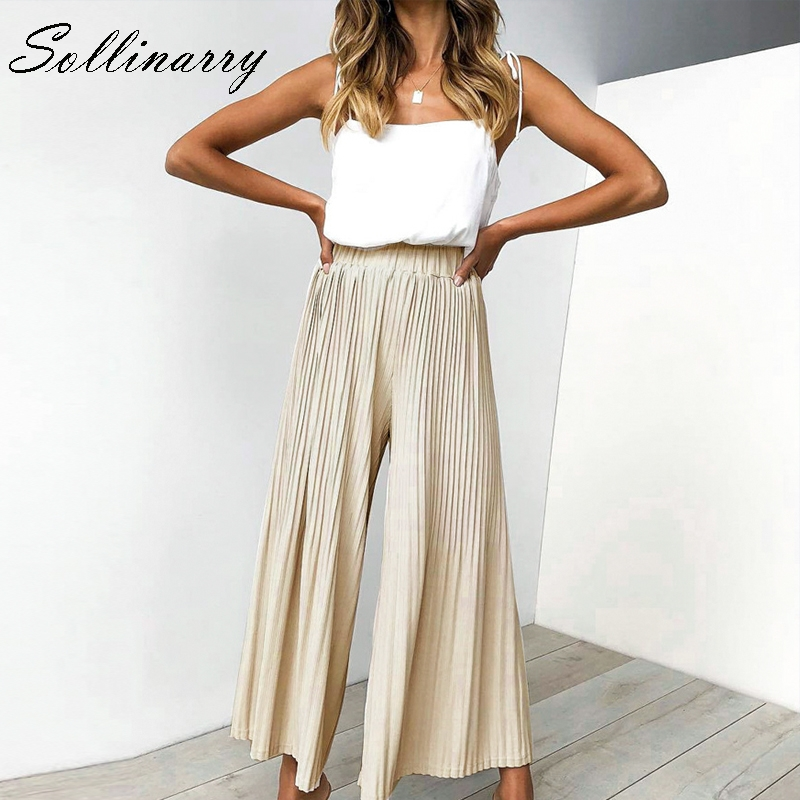 Sollinarry Wide Loose Summer   Pants   Women 2019 Casual Stripe High Waist Stylish Boho   Pants   Stain Black Solid Long   Pants     Capris