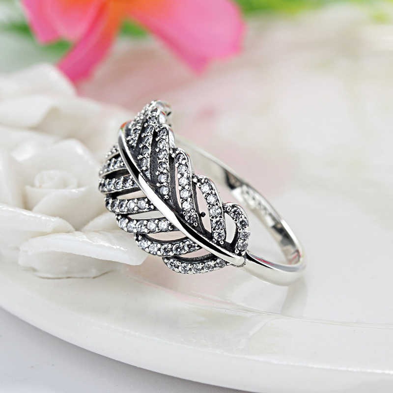 9895ff5aa Popular Silver Color Feather Clear Zircon Pandora Rings Compatible With  Fashion Jewelry Wedding Rings For Women