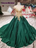 Vestido noiva bride dress wedding vintage hunter green satin gold lace appliques formal dresses chapel train with bow back