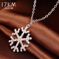 17KM New Year Christmas Gift Fashion Luxury Shiny rhinestone Snowflake Necklace Pendants Chain long necklace jewelry women M13