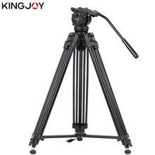 KINGJOY Official VT-2500+VT3510 Professional Photographic Travel Aluminum Video Camera Tripod DSLR Stand Holder Fluid Damping