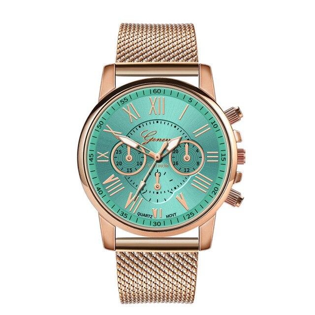 GENEVA Women's Casual Quartz Stainless Steel Watch Luxury Bracelets Bayan Kol Saat Analog WristWatch Women Clock reloj hombre Ff