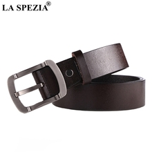 LA SPEZIA Pin Buckle Leather Belt Men Casual Real Male Coffee Cowhide Vintage Solid High Quality Classic Belts