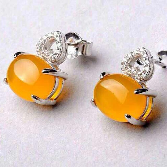 Feminino Handmade 925 Sterling Silver Natural semi-preciosa pedras calcedônia amarelo citrino amarelo amor Brincos padrão oco