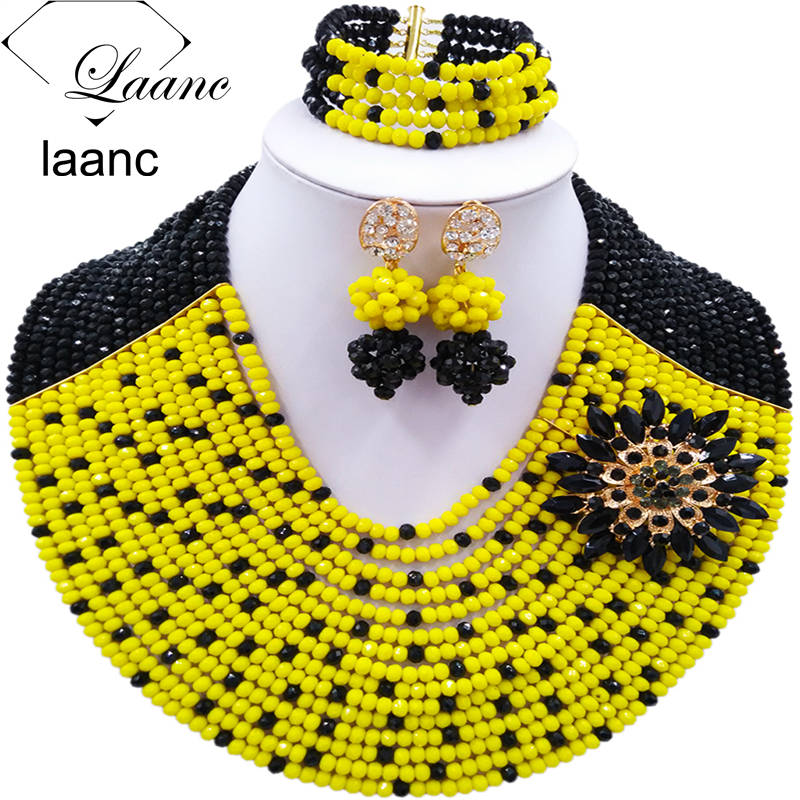 Women Fashion 16 Rows Black Yellow Crystal African Beads Nigerian Necklace Bridal Wedding Jewelry Sets Free Shipping C16C008