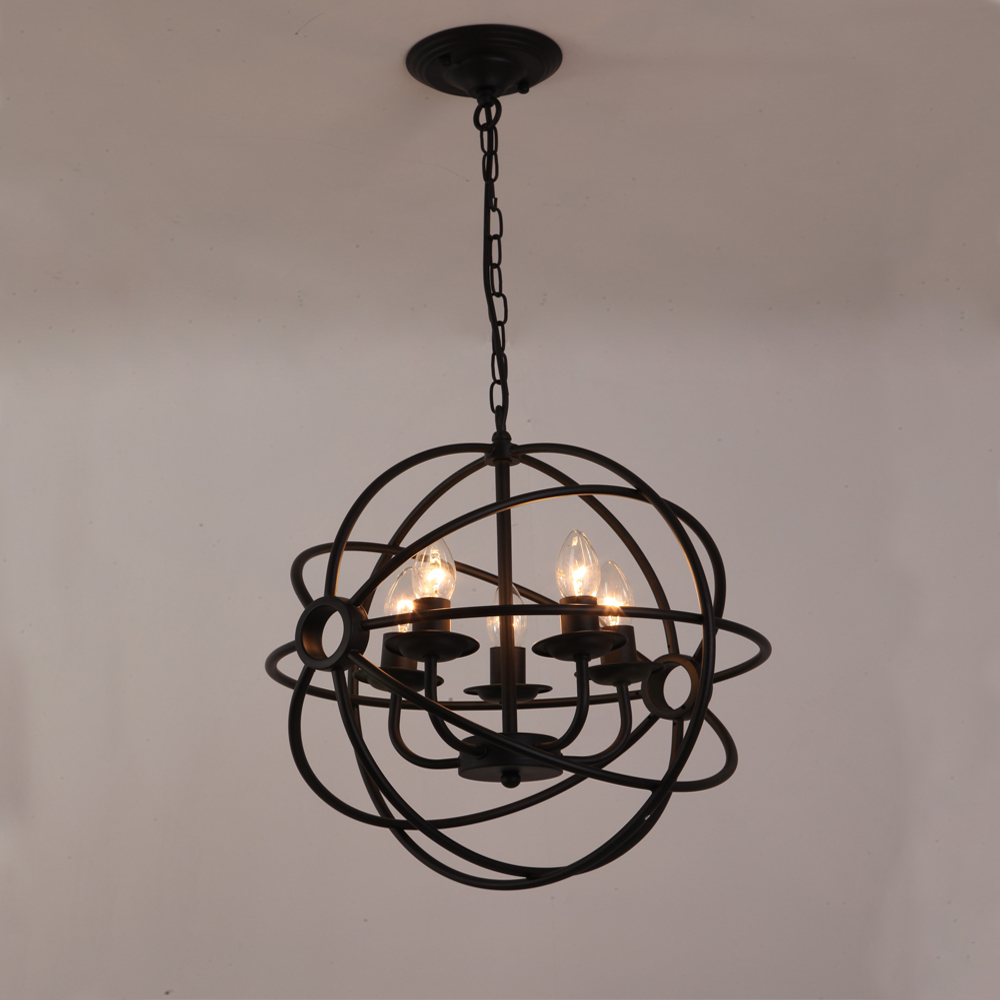 Nordic Loft Vintage American Rural Countryside Creative Restaurant Bar Wrought Iron Chandelier Circle Globe Lamp Lighting WPL226 nordic loft vintage american rural countryside creative restaurant bar wrought iron chandelier circle globe lamp lighting wpl226