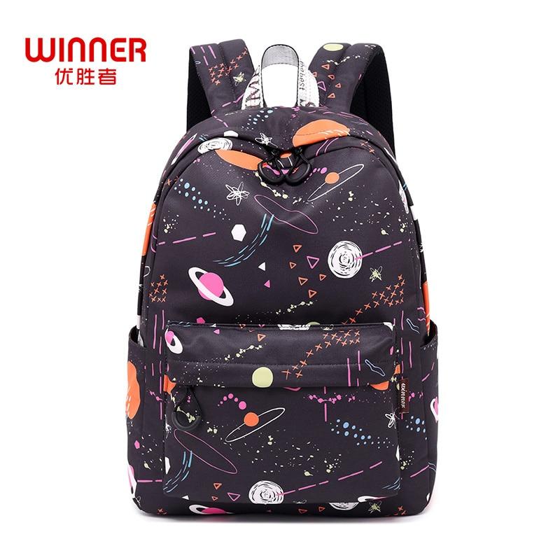 Победитель женский, черный рюкзак мультфильм Вселенная пространство высокое качество Молодежные рюкзаки для девочек-подростков женские ш…