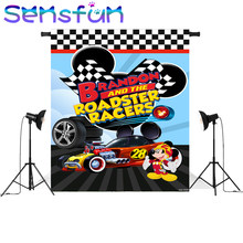 Sxy1503 Children 1st Birthday photography Backdrops Custom Photo Studio Roadster Racers Mickey Mouse Backdrop Background Vinyl(China)