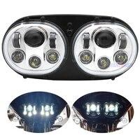Motorycly Led Headlampfor Motorcycle Road Glide LED Headlight Assembly Black Double Headlight H4 Led Motorcycle Headlight