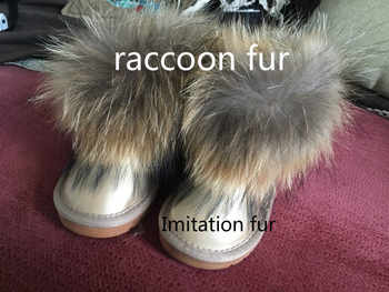 Baby Girls Boots Winter Shoes Children Warm Ankle Boots kids Raccoon Fur Snow Boots Retail EU Size 24-34
