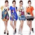 Phonenix 2016 novo vestido de verão das mulheres do vintage print plus size batwing manga curta da mulher vestido túnica vestidos femininos 16 cores