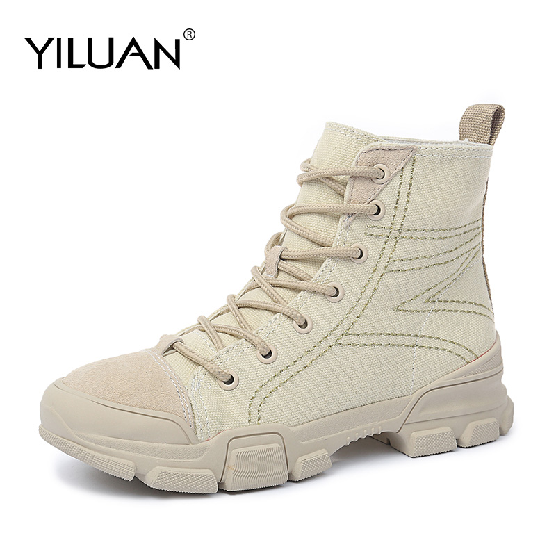 2020 Autumn new casual Martin Boots Women's Student Flat Korean Leather Canvas wild Short Boots Canvas Single Boots Western