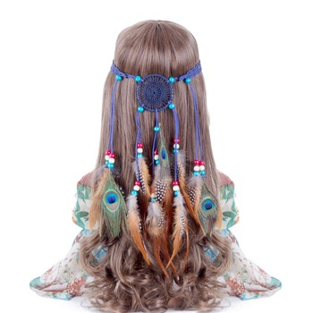 Haimeikang Bohemian Hippie Headband Dream Catcher Feather Headdress Fashion Indian Peacock Feather Headbands Hair Accessories 1
