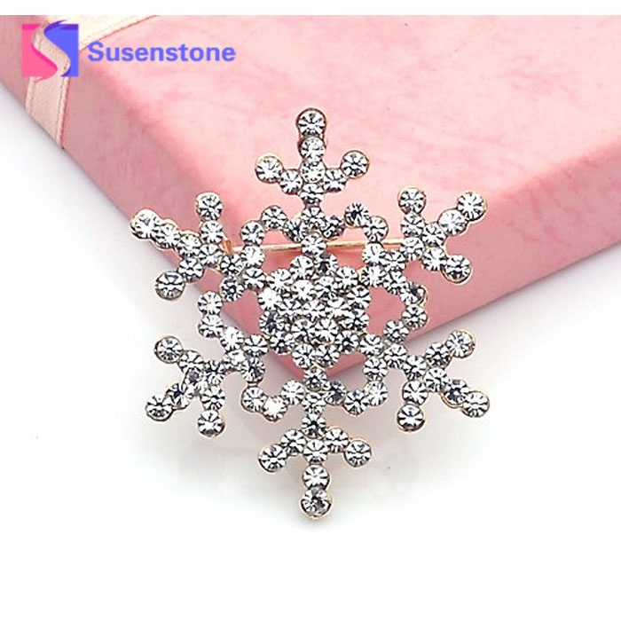 2018 Fashion Brooch Pin Crystal Rhinestone Large Snowflake Winter snow Theme hot sale berloque Wholesale&Retail Drop shipping