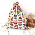 Мода 3D Печатных Животных Сова Pattern Милые Девушки Рюкзаки Женские Леди Торгового Drawstring Сумка