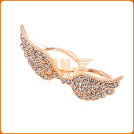 The Lowest Price Sales Full Crystal Angle Wing Ring Women Double Ring Punk Jewelry FR136
