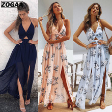ZOGAA Womens Summer Boho Maxi Long Dress Evening Party Beach Dresses Sundress Floral Halter 2019  Fashion New