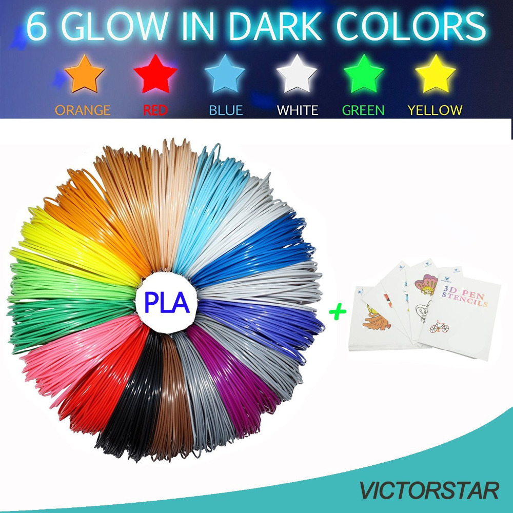 3D Printing Pen Filament PLA 26 Colors,160 Meters, 6 Colors Glow in the Dark + 1 Random Stencil, 100% Original Material