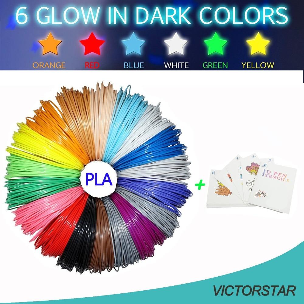 3D Printing Pen Filament PLA 26 Colors,160 Meters, 6 Colors Glow in the Dark + 1 Random Stencil, 100% Original Material