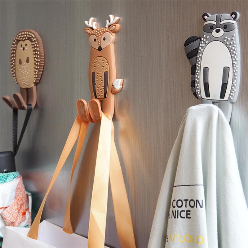 Cute Animals Magnetic Hooks Removable Fridge Sticker Refrigerator Message Magnet Coat Hanger Key Holder Storage Hook (Hedgehog)