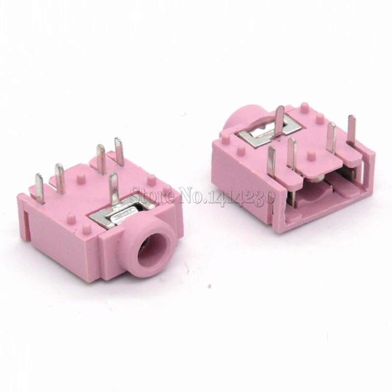10Pcs PJ-307 PJ307 3.5 MM Headphone Socket Double Track Mother City Audio Socket 5 Pin 5p [3f07 Pink]