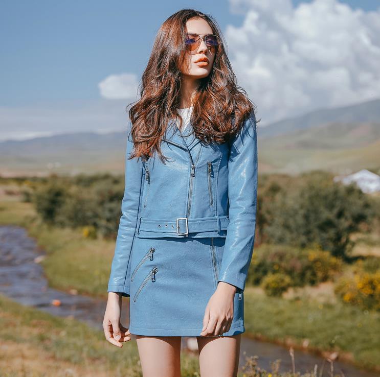 2017 New Autumn Fashion Street Women's Short Washed PU Leather Jacket Zipper New Ladies Basic Jackets + Pu Skirt 5210