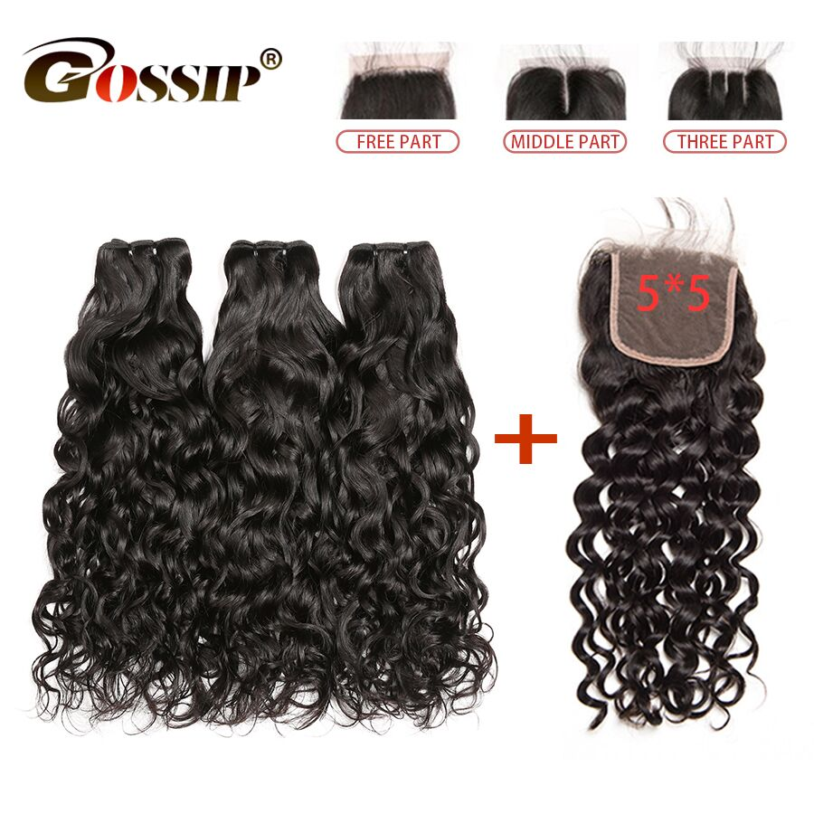 5x5 Lace Closure With Bundles Remy Water Wave Human Hair Bundles With Closure Can Be Customized