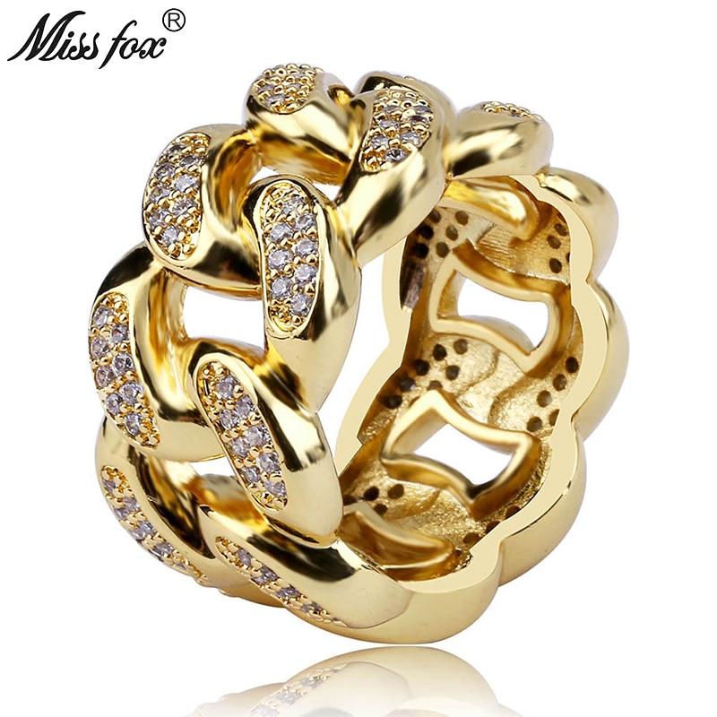 MISSFOX Hip Hop Cuban Chain Lock Men Ring 18k Gold Mens Full Cubic Zirconia Round Painting Prong Setting Valentine Sieraden