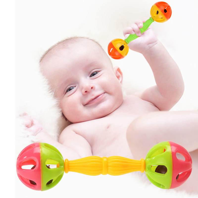 1pc Baby Rattle Toy Baby Auditory Vision Stimulus Rattles Bells Hand Shaking Dumbells Early Development Toys 0-12 Months Baby
