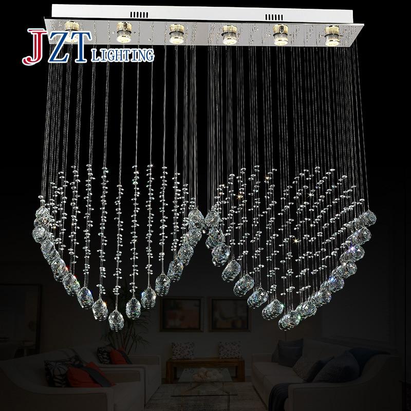 Z best price Modern Clear K9 Crystal Chandelier Arched Rectangle Crystal Ceiling Lamp LED Fixture Lighting Bar Light