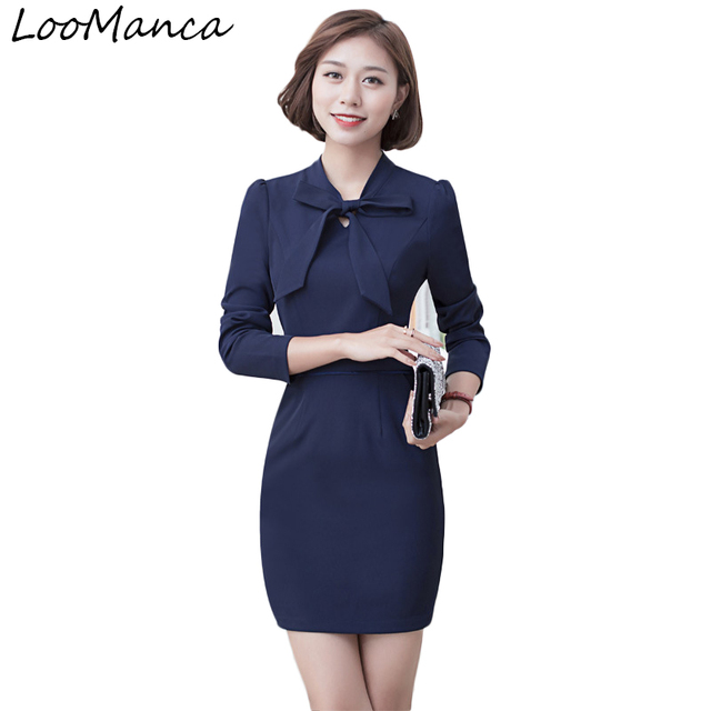 Office Dresses Women Wear to Work 2018 New Autumn Winter Fashion Long Sleeve  Bow Dress Ladies Casual One-piece Dress b716f3add