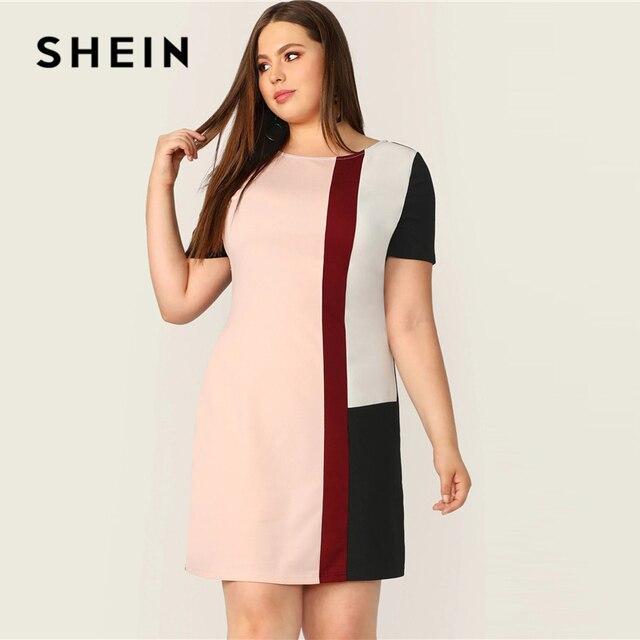 SHEIN Plus Size Multicolor Colorblock Tunic Dress 2019 Women Summer Casual Straight Shift Short Sleeve Big Size  Mini Dresses