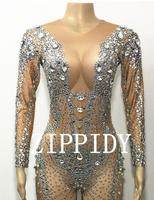 Sparkly Crystals Jumpsuit long Sleeves Big Stones Bodysuit Stage Performance Party Celebrate luxurious Costume Dance Outfit