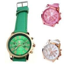 HF New Women's Fashion Geneva Roman Numerals Faux Leather Analog Quartz Wrist Watch watches women relogio feminino 5Down
