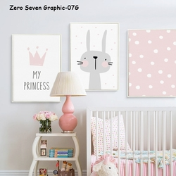 Lovely Crown Rabbit Canvas Painting Art Print Poster Picture Wall Baby Room Home Decoration